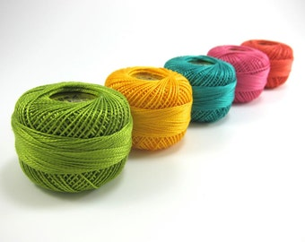 Modern Brights Pearl Cotton Thead Set - 5 Color Finca Perle Cotton Thread Set