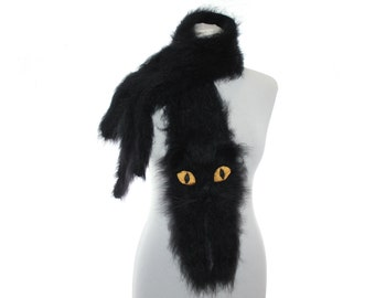 Knitted Scarf / Black Persian cat / Custom Pet Portrait / Fuzzy  Soft Scarf  / cat scarf / knit cat scarf  / Animal scarf / pets