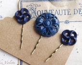 Navy blue Hair Pin, Bobby Pin, Button Bobby Pin, Upcycled Button Hair Pin, Hair Clip, Bobby Pins, Vintage Inspired Hair Pins