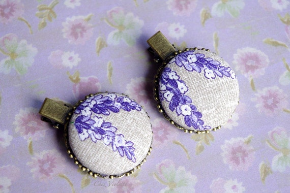 Lavender hair clip Purple hair clips French Country hairstyle Romantic hair accessory Flower bobby pins Fabric hair pins