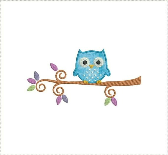 Owl on a branch applique machine embroidery design and