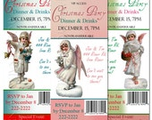 Personalized Vintage Angels Christmas Party Ticket Style Invitations - set of 12