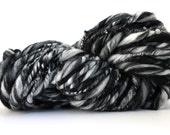 Thick and Thin Melange  Hand Spun  Super Chunky Wool Yarn  Black  / White  Color