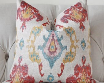 Red Turquoise Blue Gold and Khaki Geometric Pillow Cover - Muted Multi Colored Pillow Cover - Throw Pillow