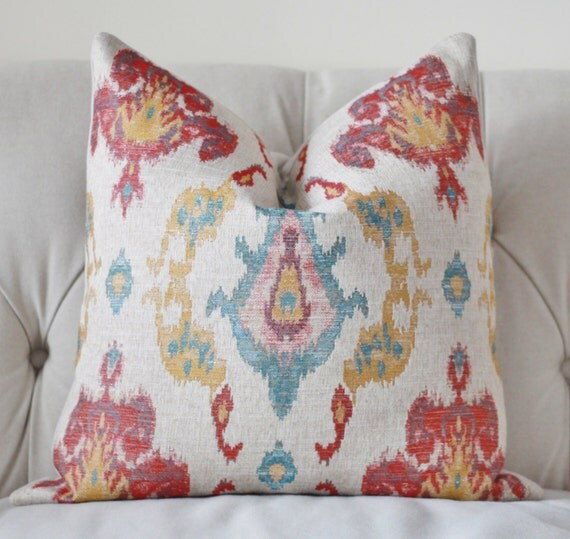 Items similar to Red Turquoise Blue Gold and Khaki Geometric Pillow Cover - Muted Multi Colored ...