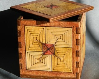 Hardwood Geometric Design Box - Home Decor, Handmade, Birch, Laser Etched, Art
