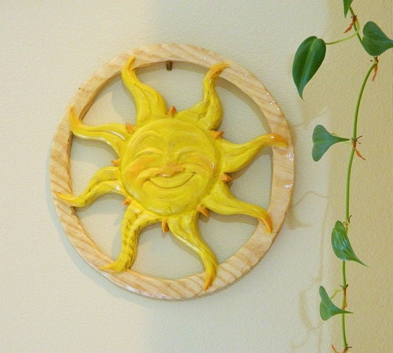 Sun Wood Carving - Made to Order - Any style, Any Color - Hanging Decoration, Sunshine