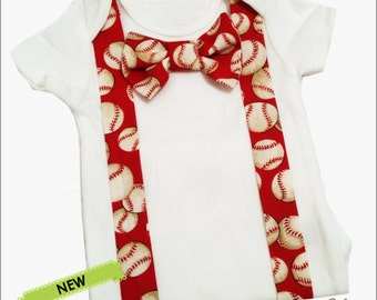 Red Baseball Suspender Tie Coming Home Outfit