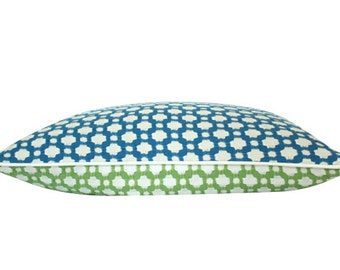 Reversible Betwixt Pillow Cover in Leaf Green and Water Blue with Ivory Piping