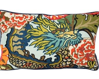 Schumacher Chiang Mai Dragon  Pillow Cover with Navy Blue Piping