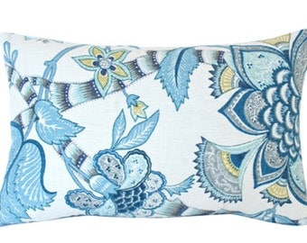 Designer Lumbar Pillow with Chartreuse and Dusk Blue