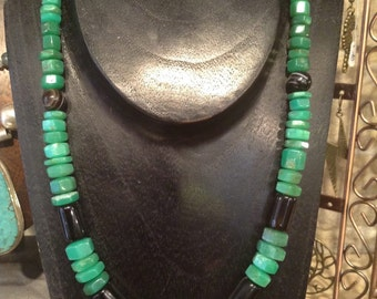 Necklaces with stones of chrysoprase, sardonyx And silver