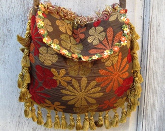 Floral autumn colors bags and purses, Hippie fringe bag, bohemian crossbody bag