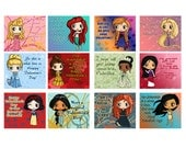 Disney Princess Valentine's Day Valentine Cards - Set of 24 or 36 (12 Designs)