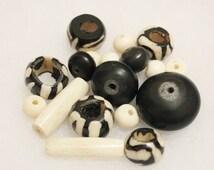 African Resin and Bone Beads, Black and White Beads, Kenya Beads (C19)