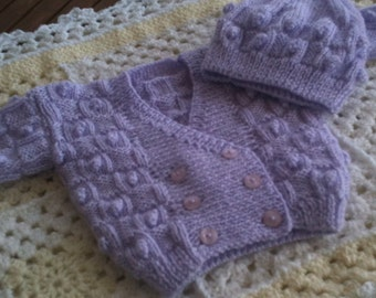 Hand knitted baby newborn crossover traditional cardigan and hat set, bobbled pattern, extra soft in 6ply. Xmas gift. Baby shower.ilac