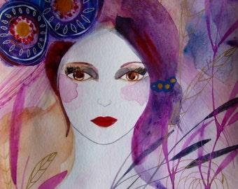 Portrait Woman Art Woman Painting Woman Watercolor Contemporary Art Home Decor Woman Blue Purple Gold Portrait Wall Art Portrait Fine Art