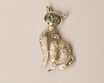Vintage Cat Brooch with Rhinestone Accents