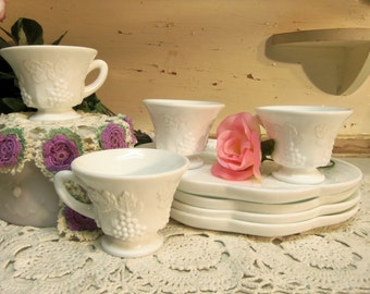 8 Piece Vintage White or Milk Glass Snack Sets 4 Cups and 4 Plates B943