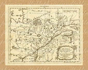 Map Of Quebec From The 1700s 319 Digital Last Minute Gift Canada French St. Lawrence River Canadian Quebecois Language Francais