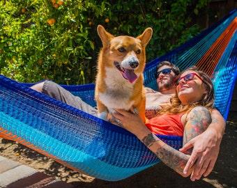 Hammock (2+ Person) - Kilauea, Blue + Orange | Free Shipping from Yellow Leaf Hammocks