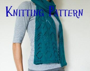 PDF Knitting Pattern - Serenity Scarf, Lace Scarf Pattern, Knitted Lace Pattern, DIY Knit Scarf, Instructions