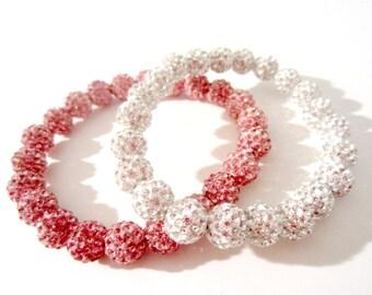 Pave Crystal Bead Bracelets