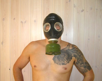 Gas Mask Steampunk Military Black soviet Rubber with a Filter and Bag USSR