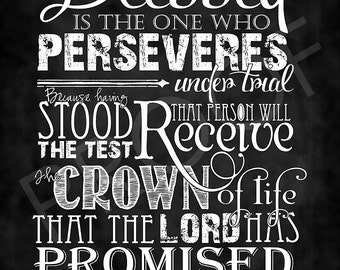 Scripture Art - James 1:12 Chalkboard Style