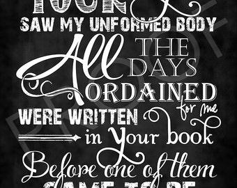 Scripture Art  Psalm 139:16 Chalkboard Style