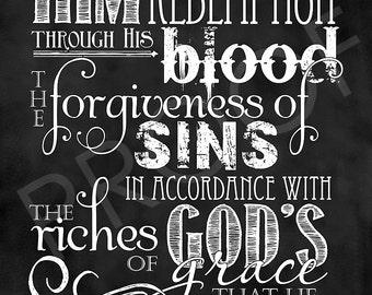 Scripture Art - Ephesians 1:7-8 Chalkboard Style