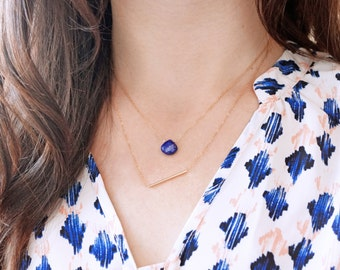 Lapis Droplet Necklace (14k gold filled chain, lapis briolette, minimal layering necklace)