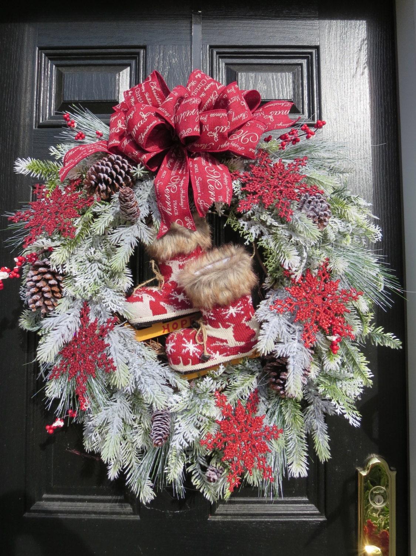 salecountry christmas wreath christmas door wreath holiday. Black Bedroom Furniture Sets. Home Design Ideas