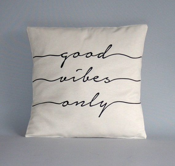 Throw pilow cover Good vibes only black white pillow cover