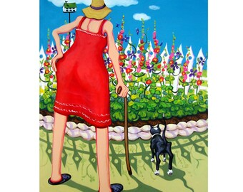 Funny Old Cat and Woman Garden Flowers Glicee Print 9x12 from original painting - Edens Garden -  Lookalike Pets and Owners Korpita ebsq