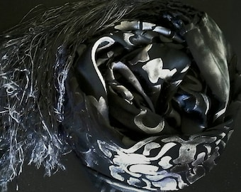 Handpainted silk scarf,scarves and wraps for women, charcoal gray, black,luxury gifts for her, silk shawl,art nouveau lace scarf, Christmas
