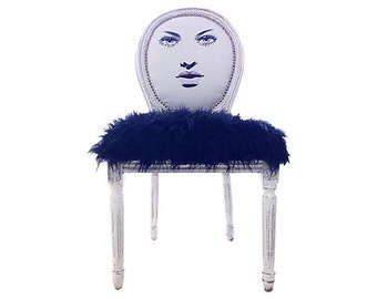 French Hollywood regency Glam White Black Fur Accent Chair