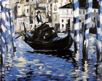 Venice Gondola Scene Oil Painting on Canvas TEXTURED Fine Art Painting Wall Decor Miniature