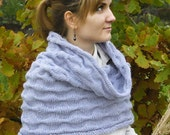 Lavender Knitted Snood - Cowl - Tube Scarf - Capelet - Wrap - Hand Knit Circle Scarf - Neckwarmer - Vegan Friendly