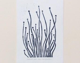 linocut - SPROUTS - 5x7 / printmaking, block print / dark blue / seedlings, flowers, nature art