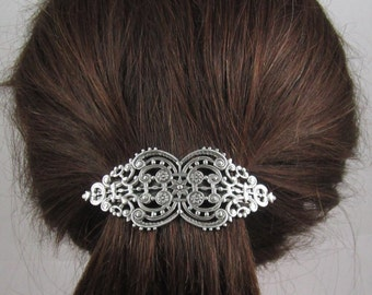Vintage Victorian Filigree French Barrette 80mmss- Large Barrette- Hair Accessories- Hair Clip- Silver Barrette- Filigree Barrette