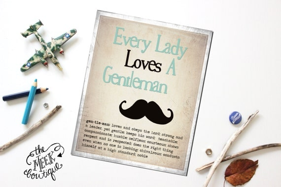 INSTANT Download, Every Lady Loves a Gentleman, Digital Art Printable, No. 82