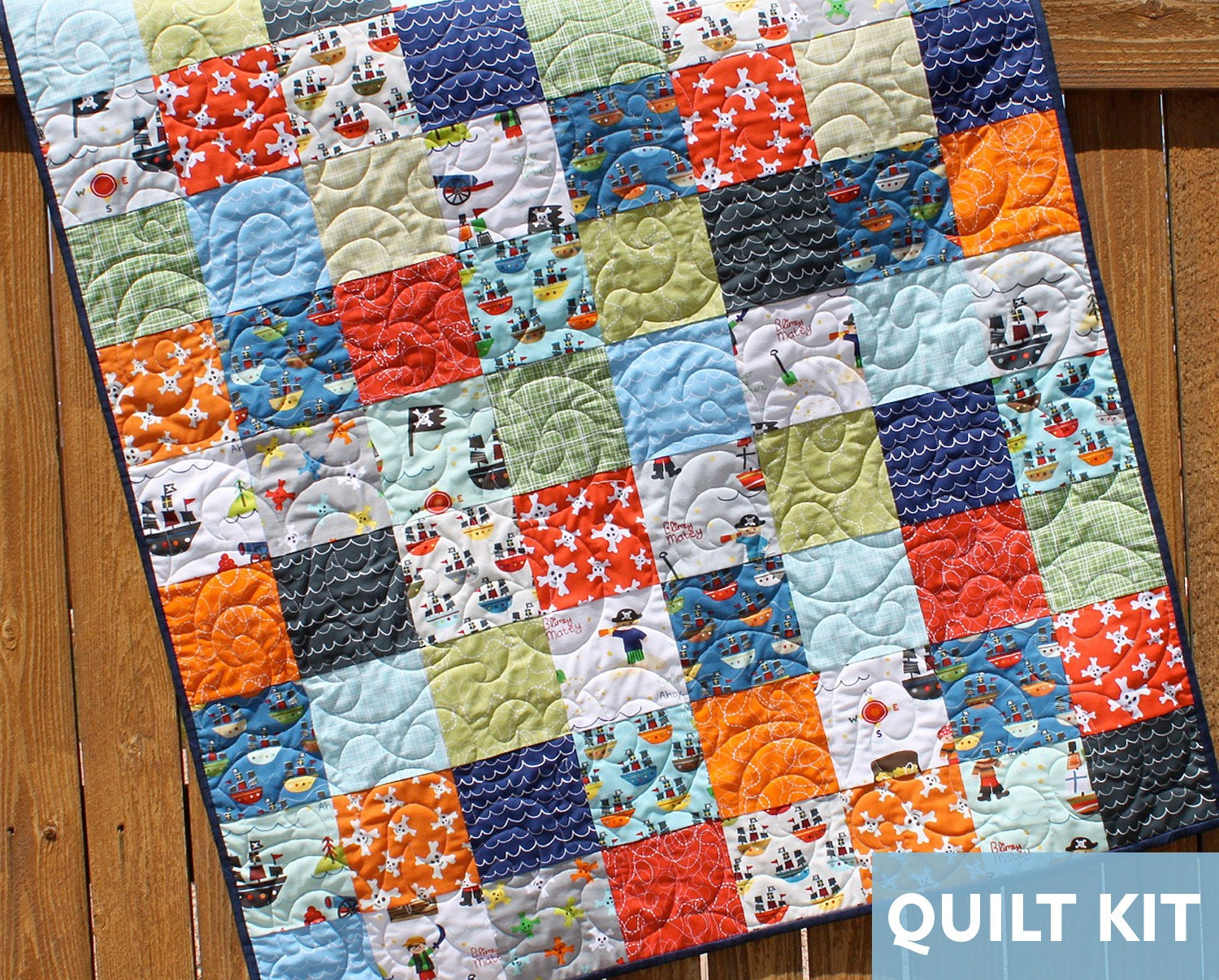 Treasure Map Quilt Kit Pirate Quilt Baby Boy Quilt Layer