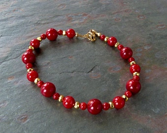 Red Coral Bracelet with Gold Pyrite Accents and 14K Gold Filled Clasp, Handmade