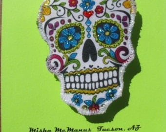 Day of the Dead Sugar Skull Brooch Fiber Art Pin Dia de los Muertos Skull Jewelry Pin