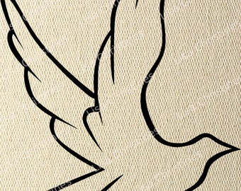 Clipart Digital Transfer Image Flying Dove Illustration, Instant Download for Paper crafts, Cards, Iron on Transfer, Fabric, Pillows 297
