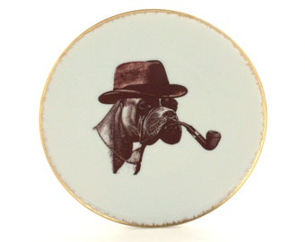 """Detective Boxer Vintage Altered Plate Dog Pipe Hat 7.48"""" Porcelain Boxer Geekery Whimsical Animal Pet Home Decor Anthropomorphic Sherlock"""