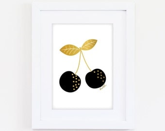 Printable Sweet Cherries Art Print - Black & Gold - Digital Download