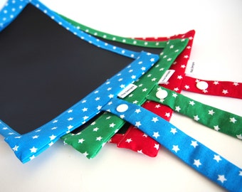 Portable Chalkboard Play Mat/ Placemat Mini  - Blue, Red or Green with White Stars