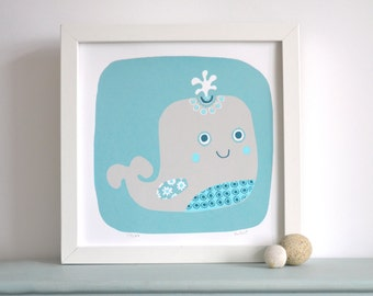 Whale Screen Print in Grey & Aqua - Hand Printed Limited Edition of 100 - Mid Century Inspired Whale Design